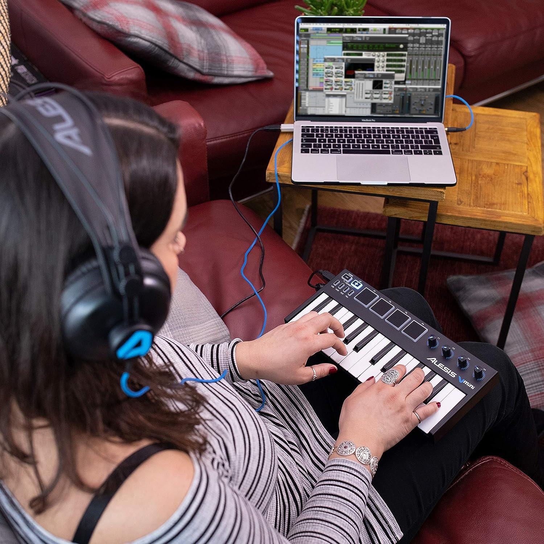 Alesis V-Mini - Teclado Controlador USB MIDI portátil 25 teclas, 4 almohadillas sensibles retroiluminadas, 4 codificadores asignables y un paquete de ...