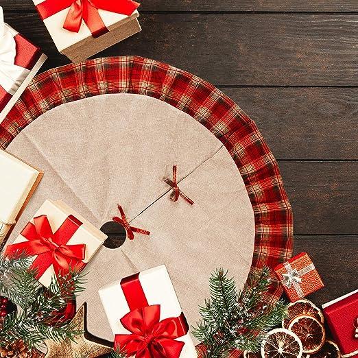 LUTER 48 Pulgadas Falda de árbol de Navidad, Lino a Cuadros Rojo y ...