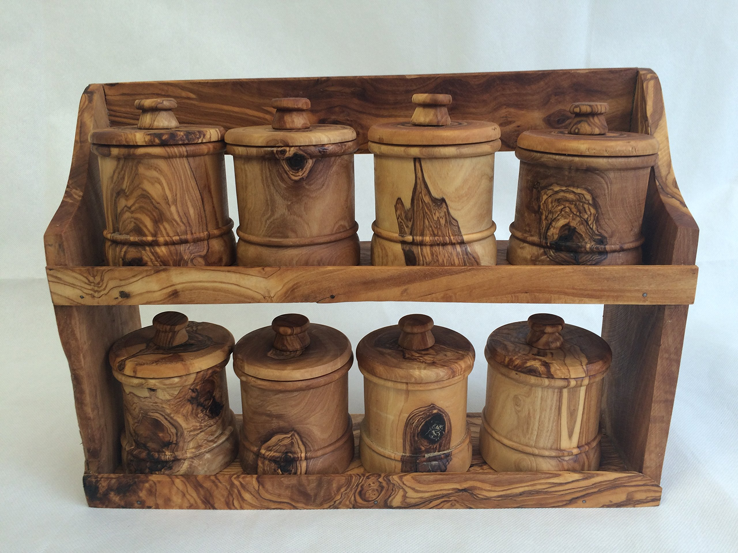 Olive Wood Spice Rack with 8 Jars