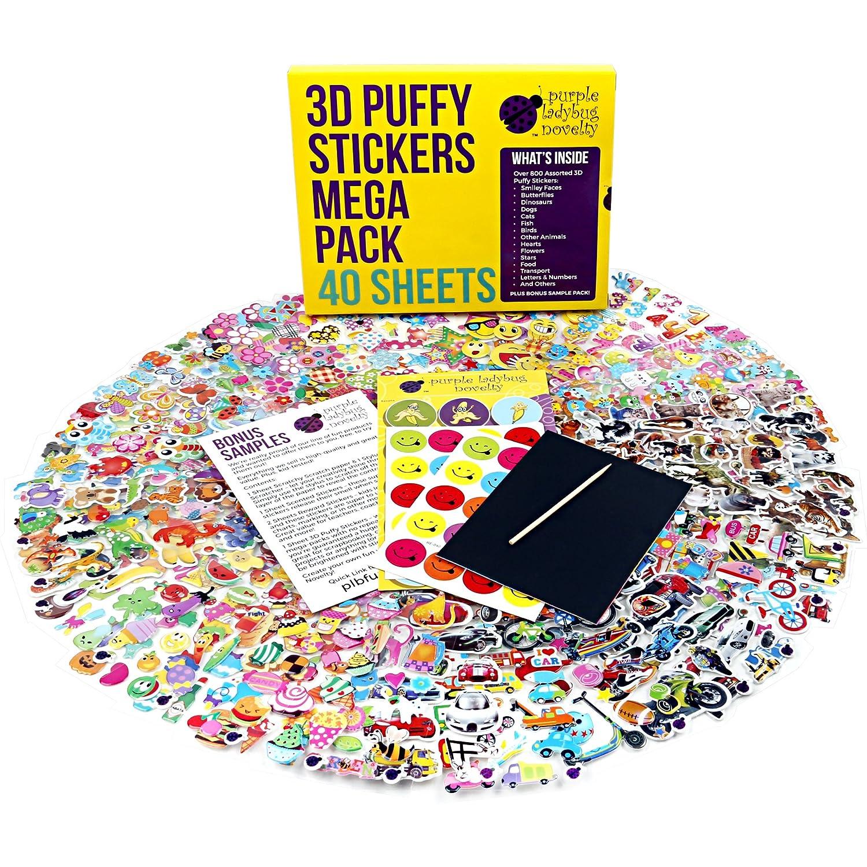 Purple Ladybug Novelty Pegatinas 3D para Niños Lote DE 40 Hojas Diferentes y Más de 950 Stickers Infantiles | Animales, Letras, Números, Calcomanías Emoji | Muestra Gratuita Incluída