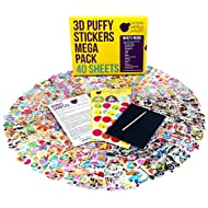 Purple Ladybug Novelty 40 No Repeat Sheets Puffy Sticker Mega Variety Pack 950+ 3D Puffy Stickers for Kids , Toddlers & Teachers - Including Animals , Smiley Faces , Cars & More!