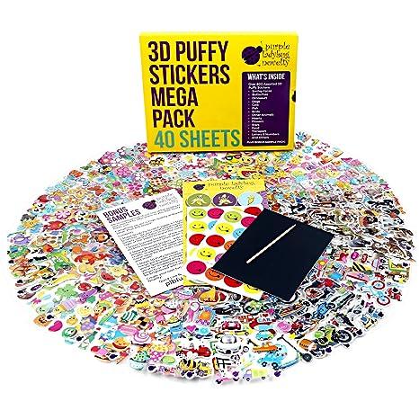 Purple Ladybug Novelty 40 Verschiedene Stickerbögen für Kinder & Babys, Sticker für Mädchen, Jungen und Babys, mehr als 950 3