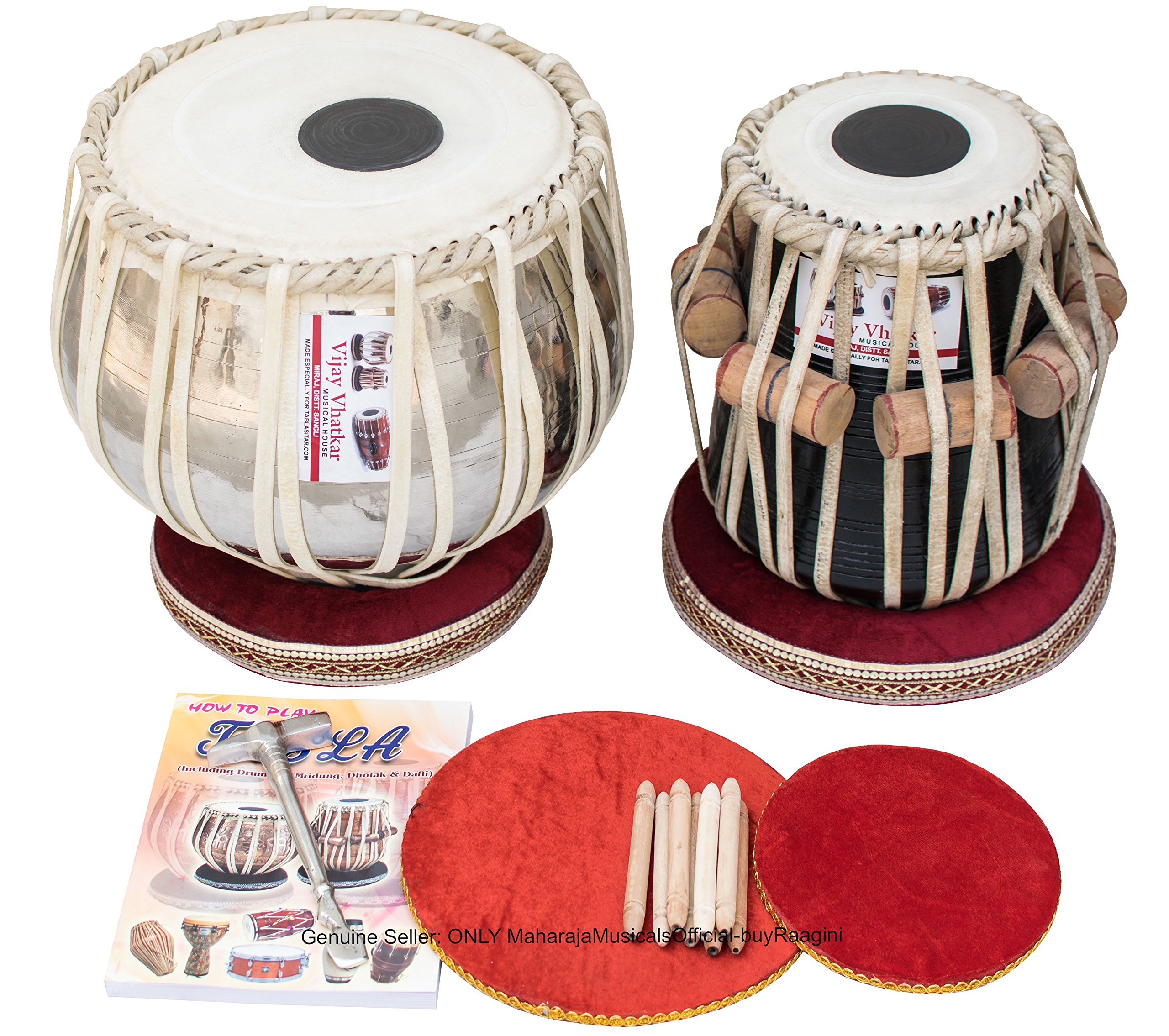 Tabla Set by Vijay Vhatkar, Concert Quality, 2.5 Kilograms Chromed Brass Bayan, Sheesham Tabla Dayan, Book, Hammer, Cushions, Cover, Tabla Drums Musical Instrument (PDI-BBE) by VHATKAR