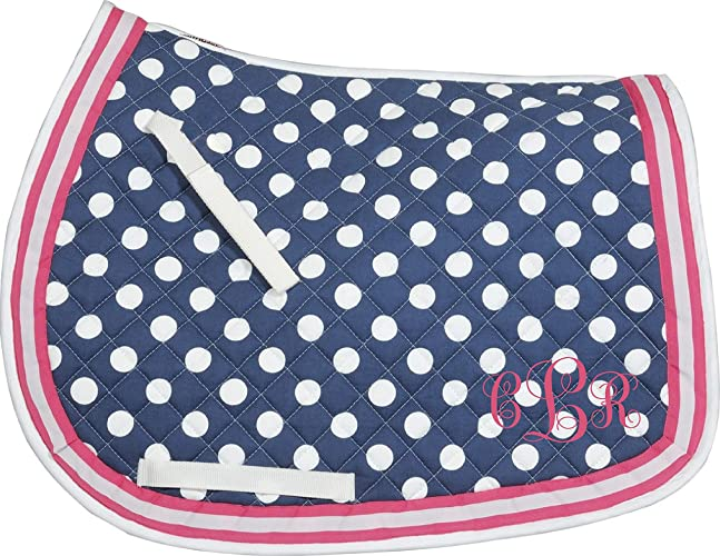 7912aa35 Amazon.com: Navy & Hot Pink polka dot Embroidered Monogram All ...