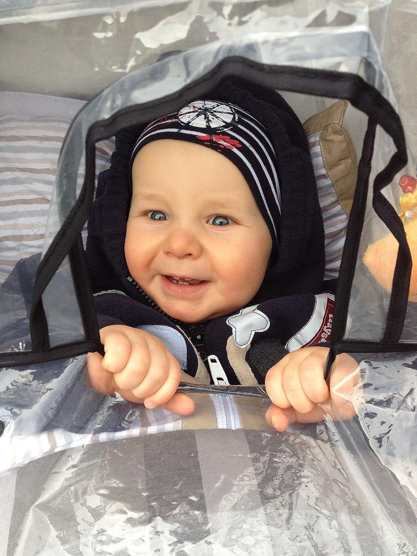 Regenhaube mit Klettverschluss und Gummizug Playshoes Universal Regenverdeck f/ür Kinderwagen transparent one size