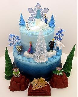 Frozen 35 Piece Cake Topper Set Featuring 2 Winter Wonderland Figures Of Elsa