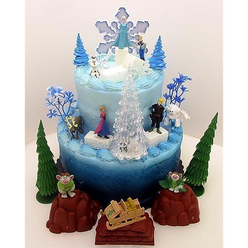 FROZEN 35 Piece Frozen Cake Topper Set Featuring 2 Winter Wonderland Figures Of Elsa