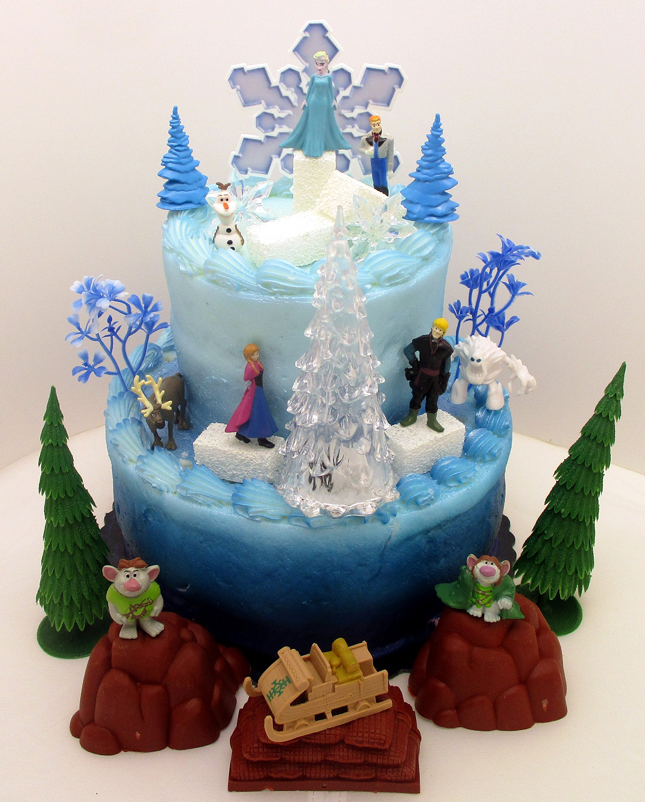 FROZEN 35 Piece Frozen Cake Topper Set Featuring 2'' Winter Wonderland Figures of Elsa, Anna, Sven, Hans, Kristoff, Olaf, Marshmallow Snow Monster, Bulda Troll, King Troll and Other Winter Themed Accessories - Cake Topper Set Includes All Items Shown