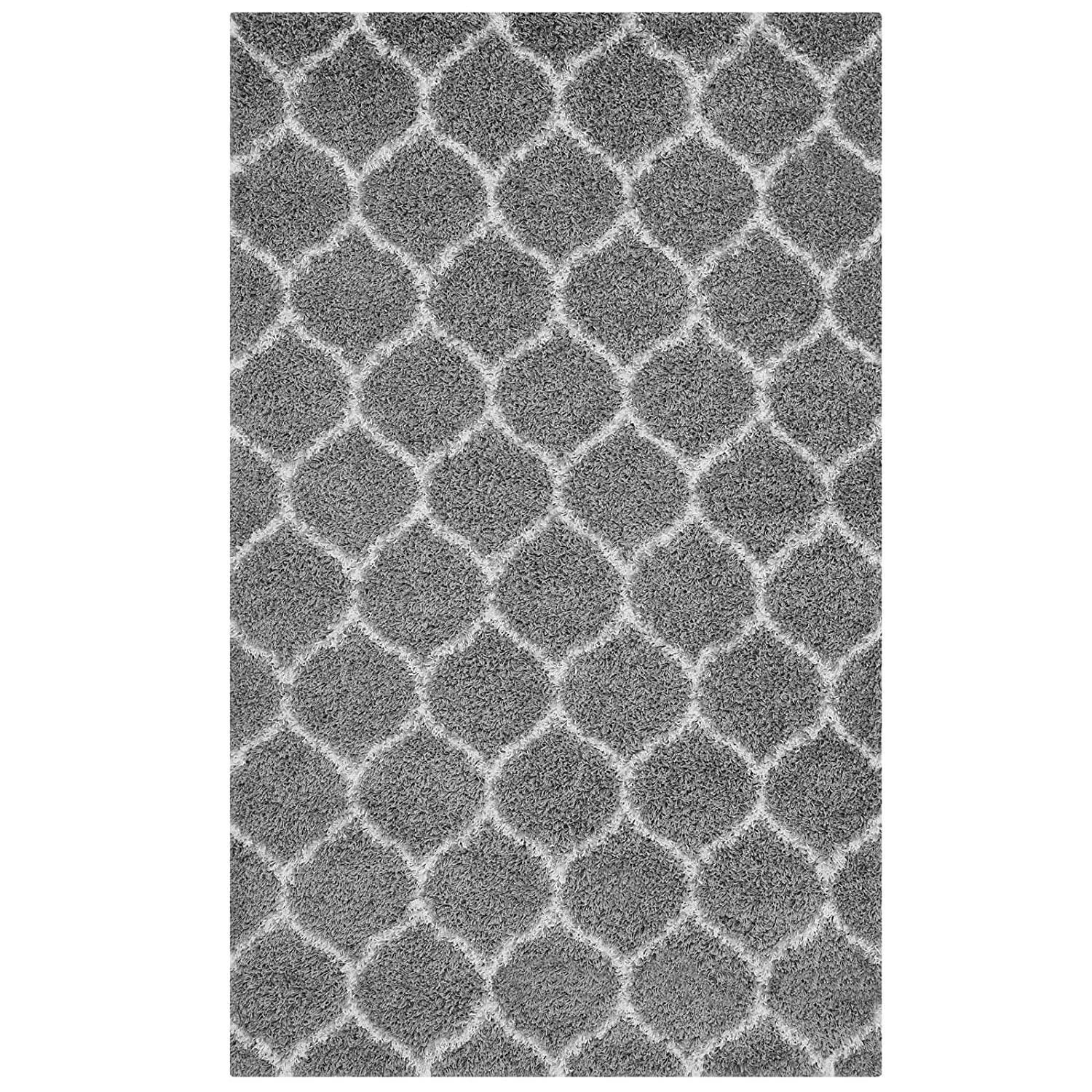 Modway Solvea Moroccan Trellis 8x10 High Pile Shag Area Rug With Lattice Design In Ivory and Navy
