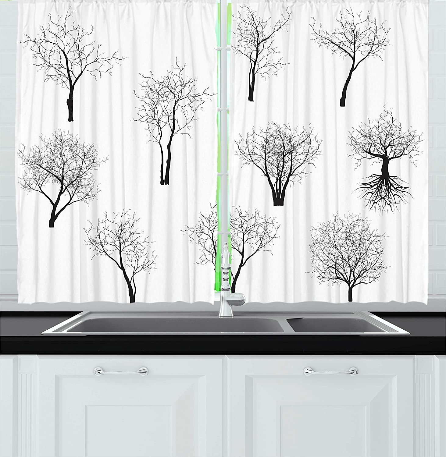Amazon Com Ambesonne Forest Kitchen Curtains Spooky Horror Movie