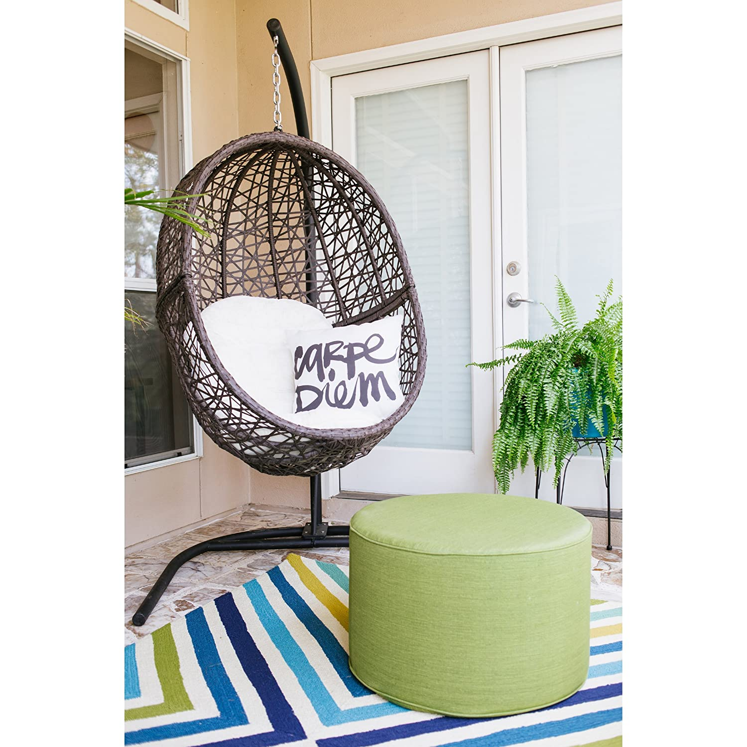 Wicker egg chair - Amazon Com Resin Wicker Espresso Hanging Egg Chair With Tufted Khaki Cushion And Stand Patio Lawn Garden