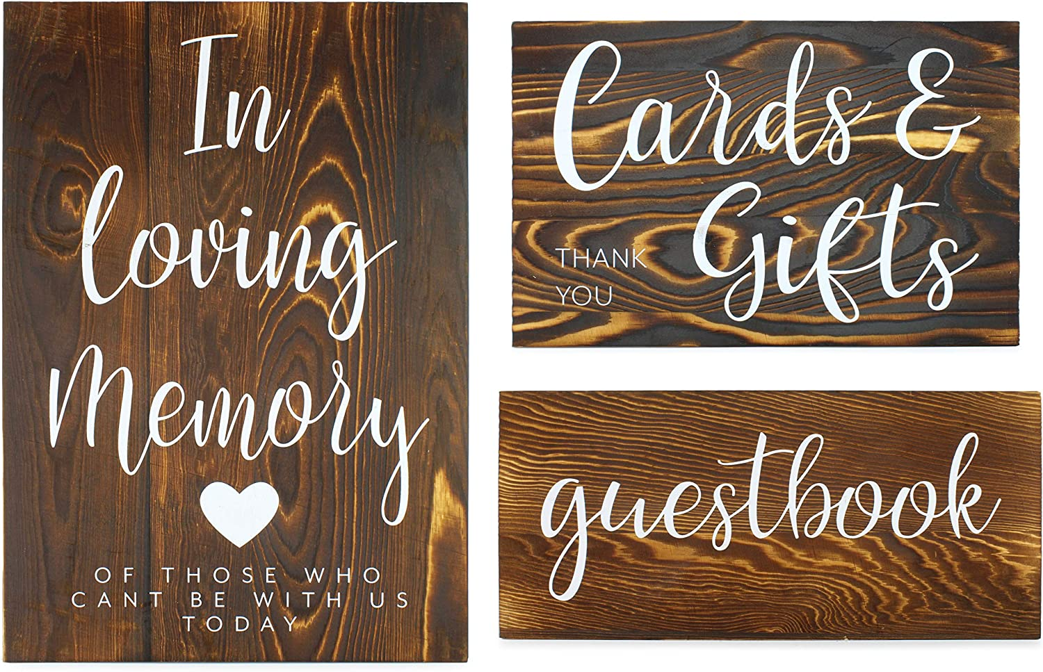 Darware Wooden Wedding Reception Signs (Set of 3); for Guests, Gifts, and Memorial