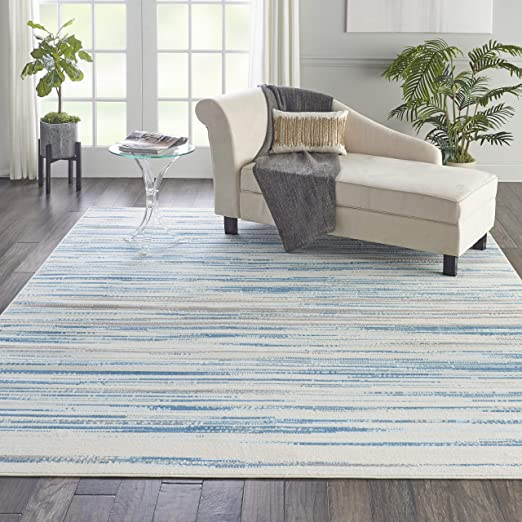 Amazon Com Nourison Jubilant Modern Coastal Blue Area Rug 7 10 X 9 10 8 X 10 Furniture Decor