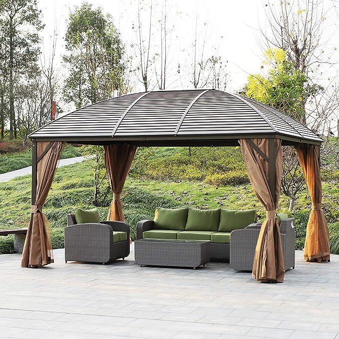 Outsunny - Cenador de metal de aluminio con cortina de 13 x 10 pies, color negro y marrón: Amazon.es: Jardín