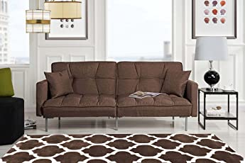 Divano Roma Furniture Collection   Modern Plush Tufted Linen Fabric  Splitback Living Room Sleeper Futon