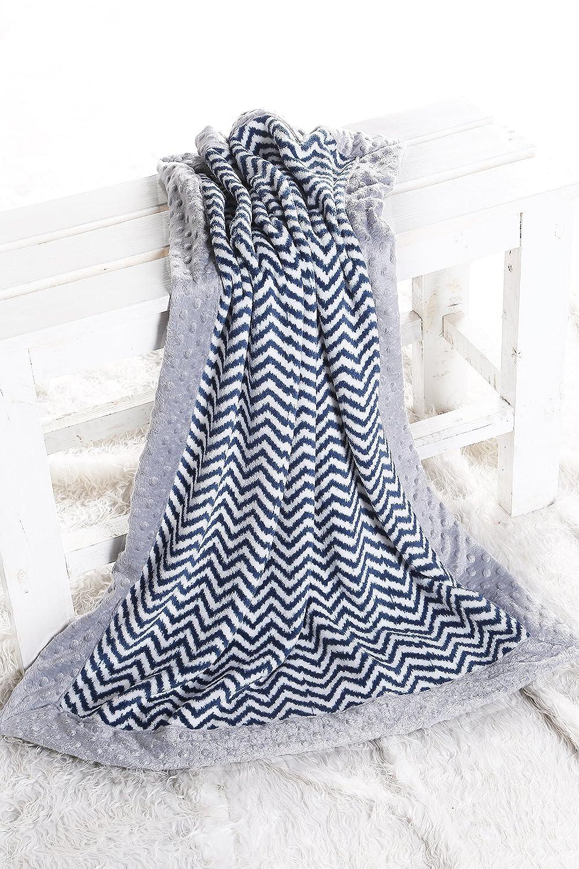 Bacati - Ikat Chevron with Grey Border Plush Blanket (Navy Chevron/Grey Border) by Bacati   B01BGCKQZE