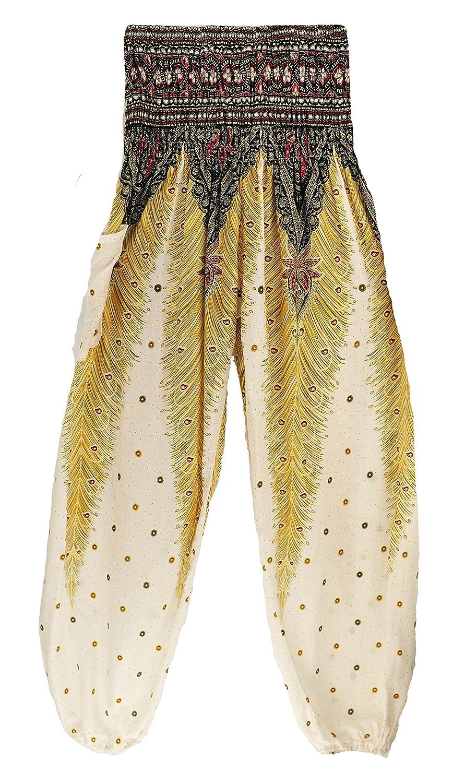 01 White Peacock TERODACO Boho Harem Pants Hippie Unisex Printed Harem Pants for Men & Women