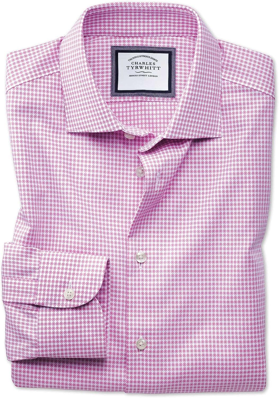 Camisa Business Casual Blanca y Rosa con Topos sin Plancha con Texturas Modernas, Corte Extra Slim fit y Cuello semicutaway: Amazon.es: Ropa y accesorios