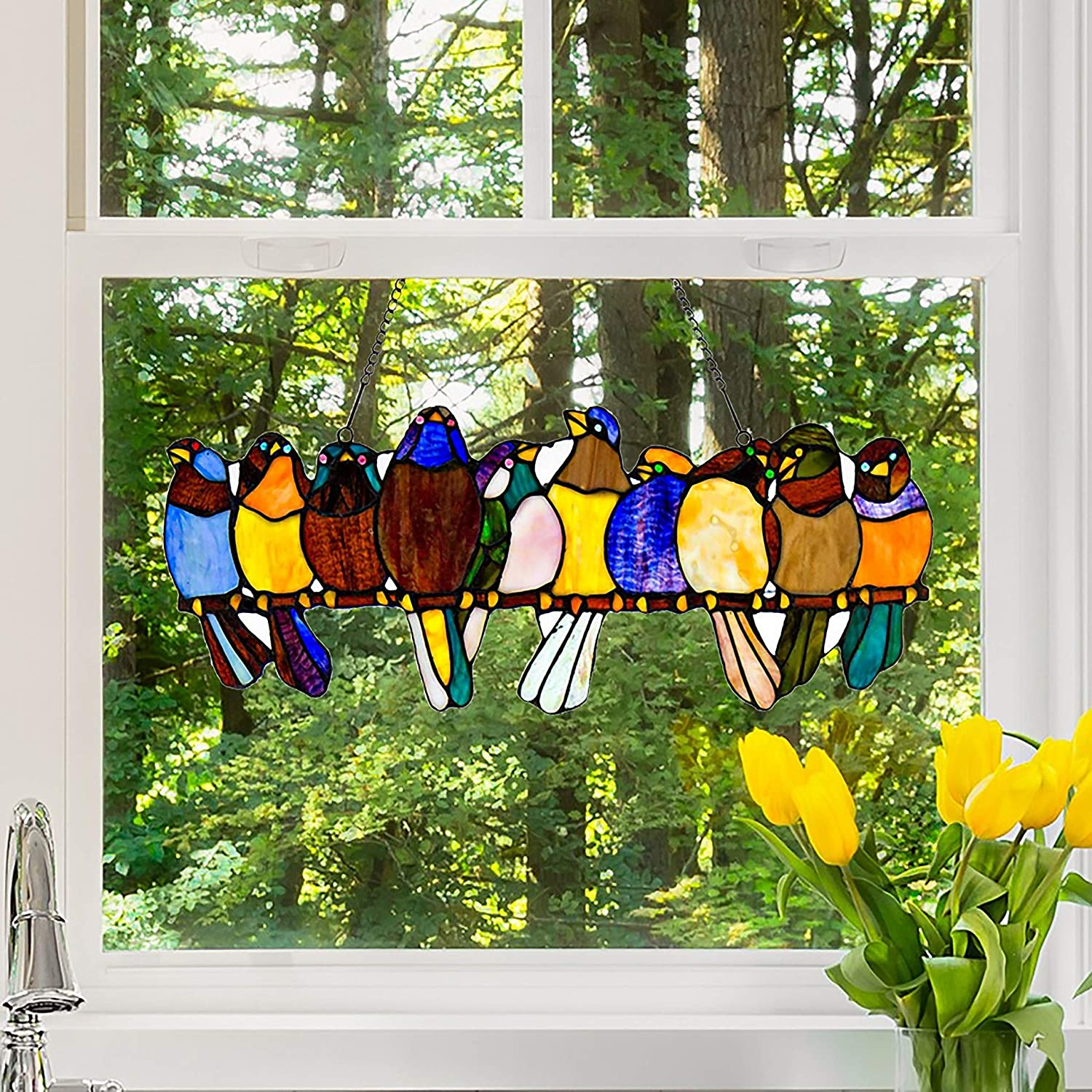 A Multicolor Spring Birds on a Wire High Stained Glass Suncatcher Window Panel Bird Series Hanging Ornaments Pendant lovely birds Suncatchers Home Decoration Outdoor D/écor Gifts for Bird Lover