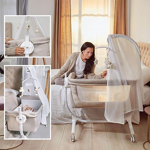 Stella Stellina, grau praktisch /& sch/ön made in Italy hochwertige Materialien CAM 2 in 1 Beistellbett /& Babywiege CULLAMI Roll- /& Wiegefunktion Babybett 8 H/öhenpostionen