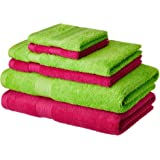 Solimo 100% Cotton 6 Piece Towel Set, 500 GSM (Spring Green and Paradise Pink)
