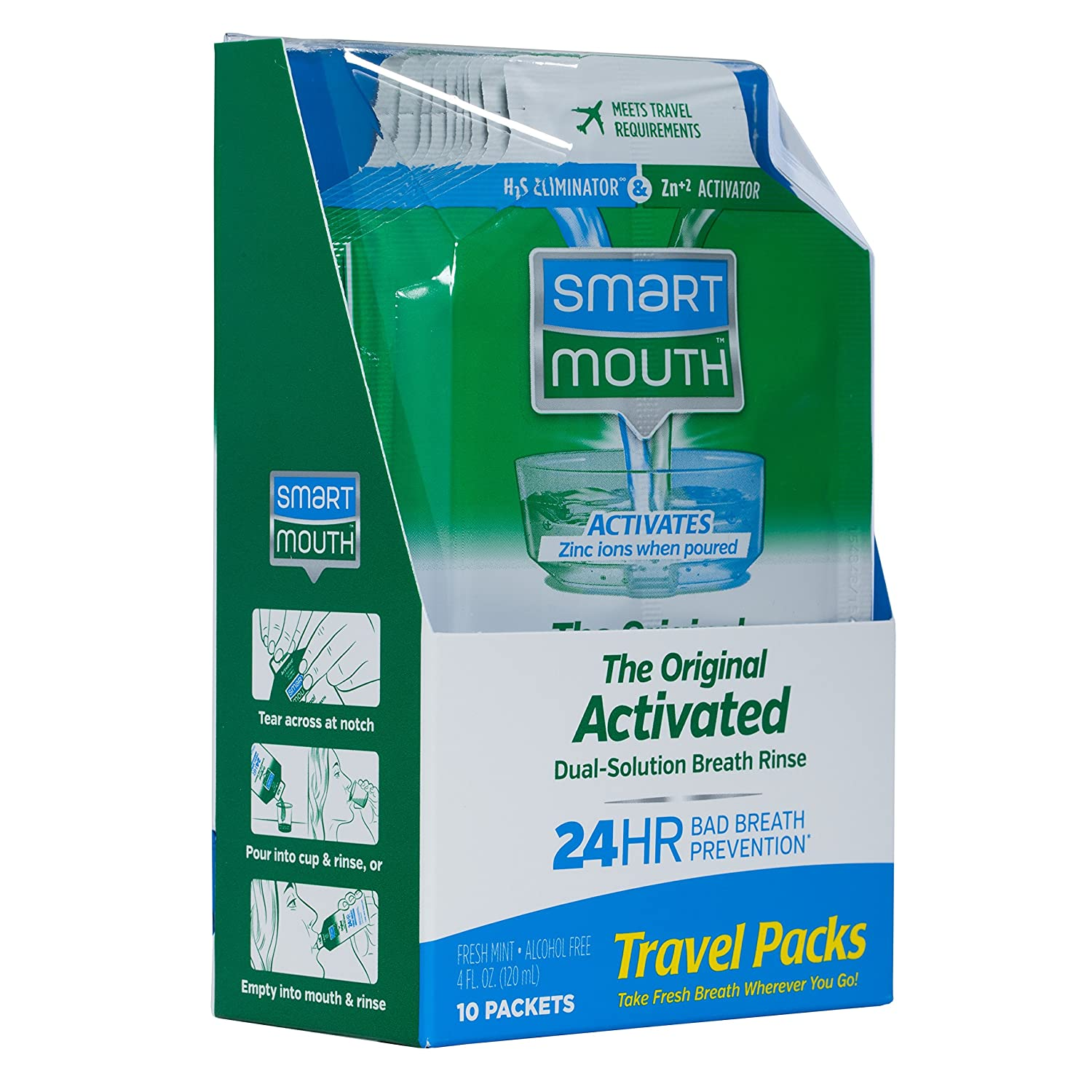 SmartMouth Mouthwash Travel Packets for 24 Hours of Fresh Breath Guaranteed, 12 Boxes, 10 packs each