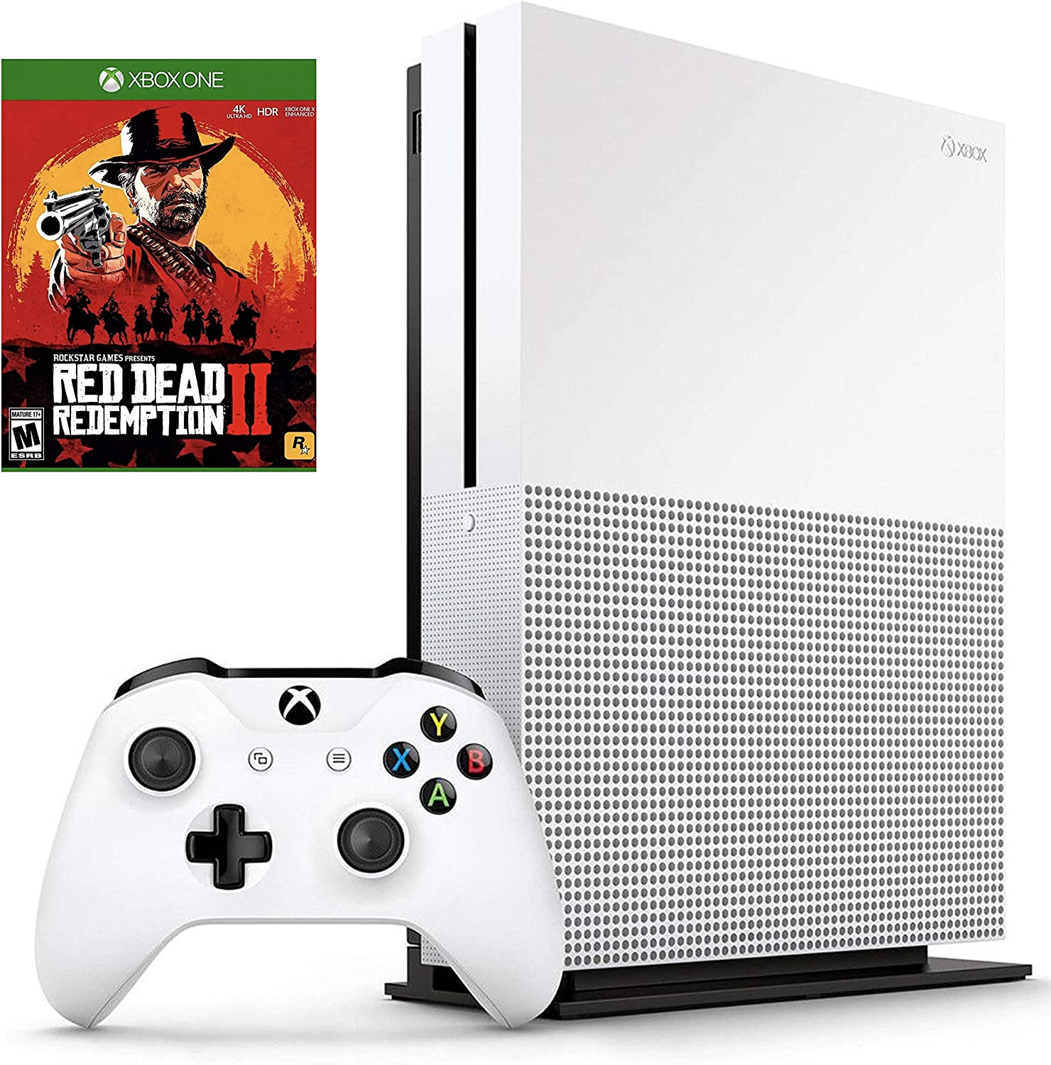 Microsoft Xbox One S 500GB with Wireless Controller and Red Dead Redemption 2 bundle
