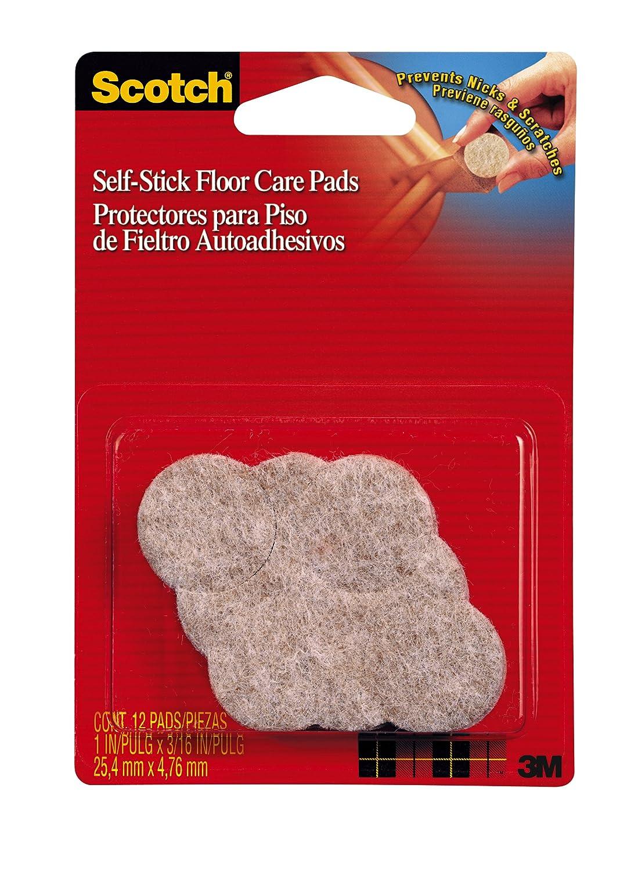 3M Scotch Self-Stick Floor Care Pads, Beige, 1-Inch Beige, 6-Pack