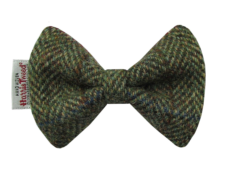 Harris Tweed Green & Fawn Herringbone Designer Dog Collar Bow Tie