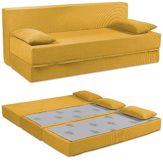 Baldiflex Sofá Cama de 3 Plazas Espuma viscoelastica, Modelo Tetris. Confortable Funda extraíble y Lavable. Color Ámbar.