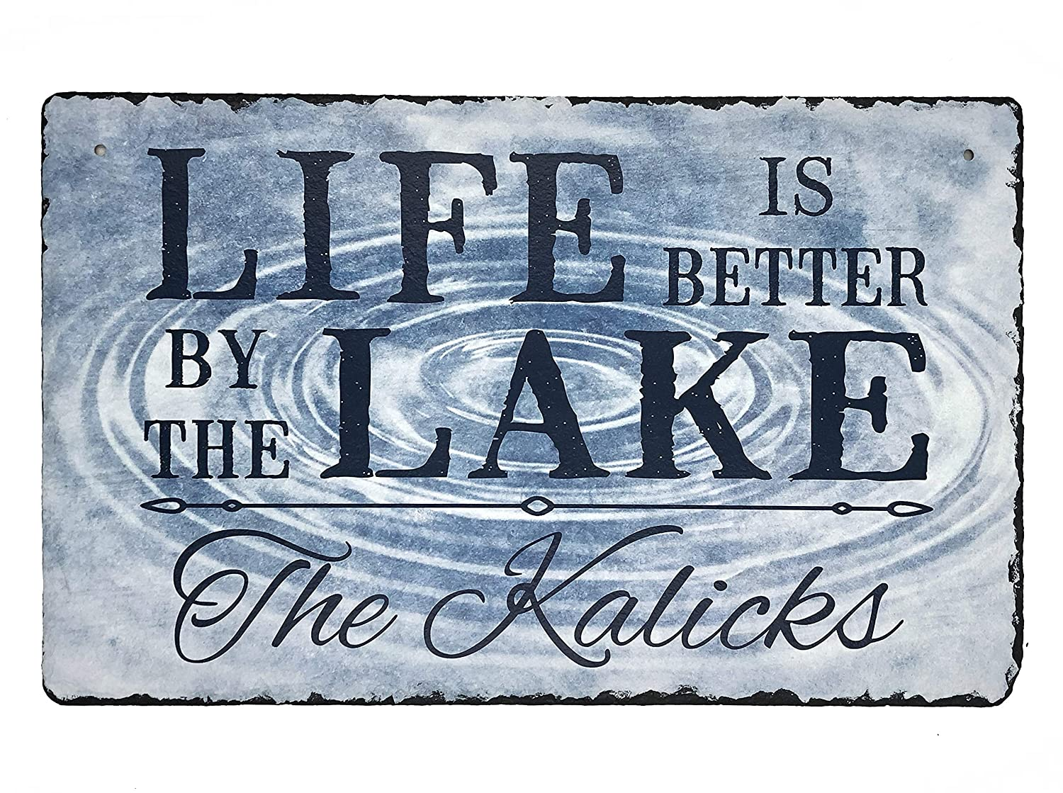 """Sassy Squirrel Beautifully Handcrafted and Customizable Slate Home Address Plaque Sign Life is Better by The Lake (12""""x8"""" or 16""""x10"""") Improve The Curb Appeal of Your Lake House!"""