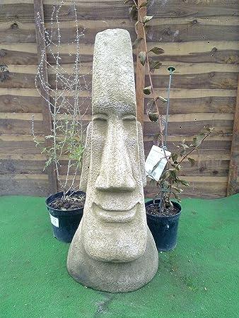 Stone Concrete Tiki Easter Island Head Extra Large Male.