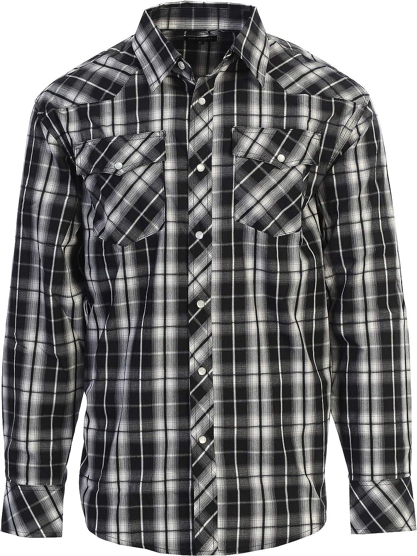 Hajotrawa Men Plaid Warm Winter Button Front Long Sleeve Fleece Thicken Shirts