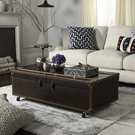 Amazon Com Safavieh Home Zoe Brown Faux Leather Storage Trunk Coffee Table With Wine Rack Furniture Decor