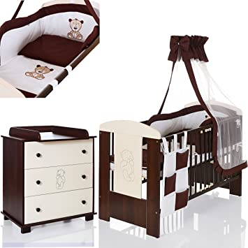 Brown Bear Complete Baby Bedroom Furniture Set with Cot 120 ...