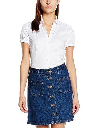 005819dafb1f ESPRIT Collection Damen Regular Fit Bluse mit Stretch Kurzarm, Gr. 38, Weiß  (