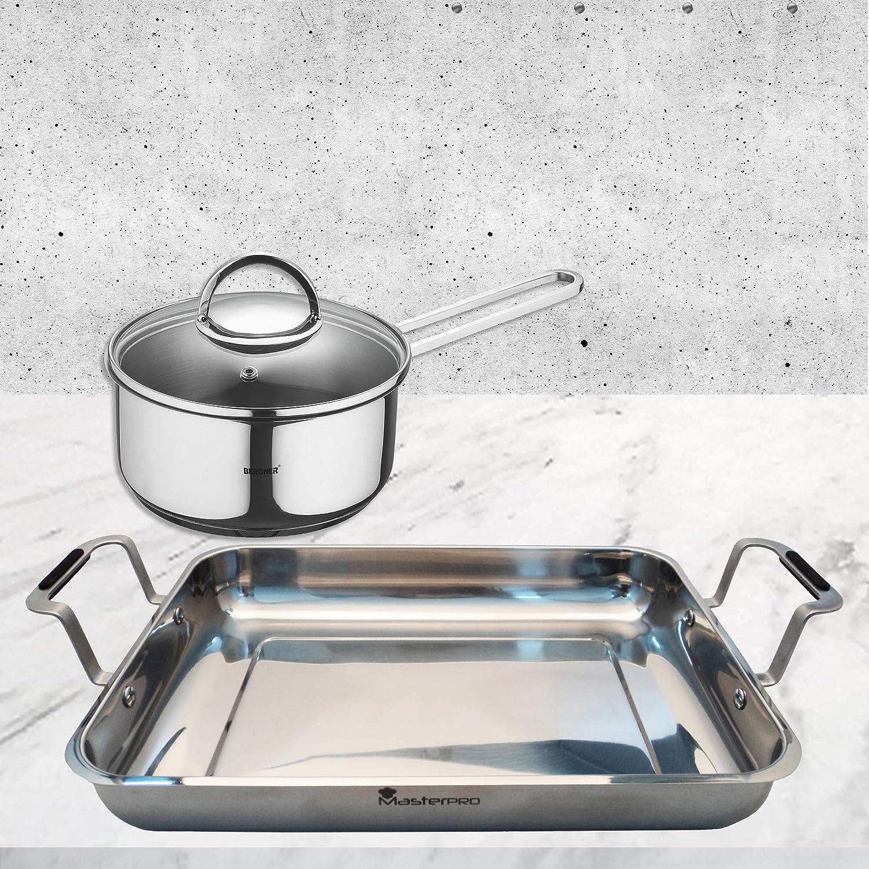 Bergner Bateria De Cocina De 6 Piezas, Acero Inoxidable, Cromado Mate, 24 cm