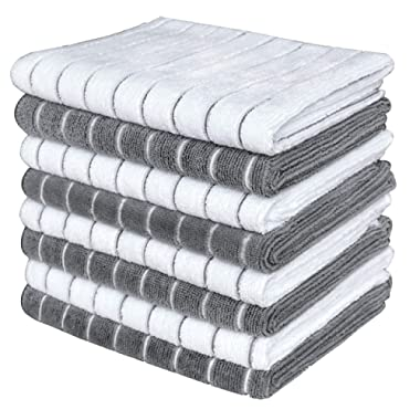 Gryeer Microfiber Dish Towels - 8 Pack (Stripe Designed Gray and White Colors) - Soft, Super Absorbent and Lint Free Kitchen Towels, 26 x 18 Inch