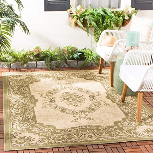 Safavieh Courtyard Collection CY7208-14A5 Cream and Green Indoor Outdoor Area Rug 8 x 11
