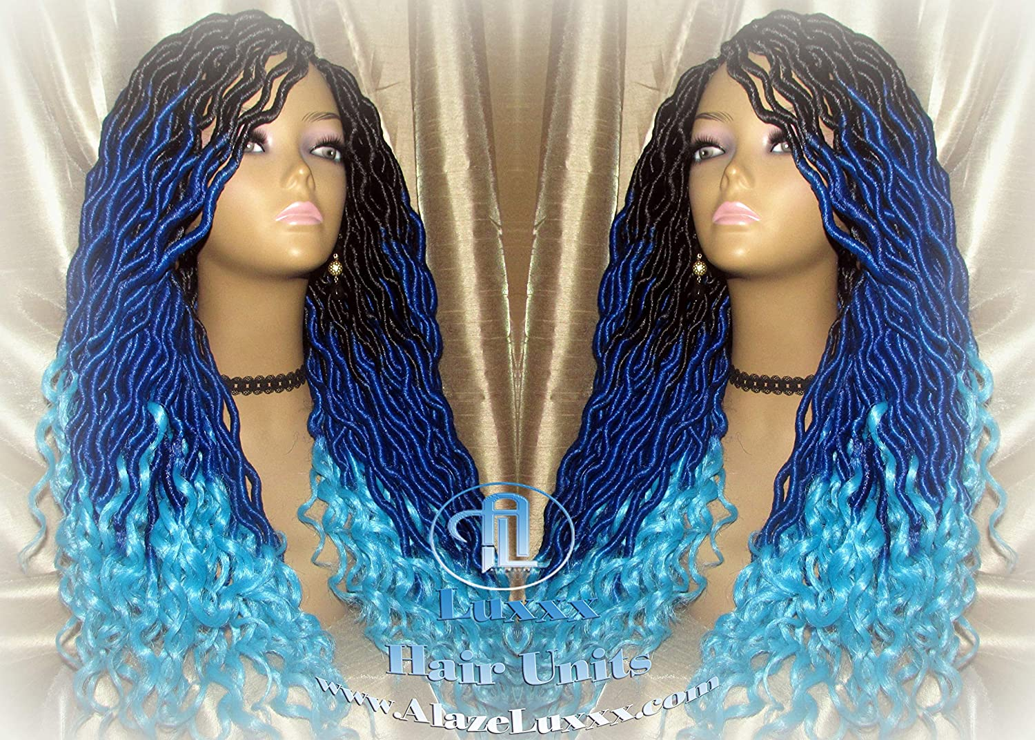 Amazon Com Goddess Faux Locs Blue Ombre Curly Long Wig Synthetic Dreads Crochet Braids Mermaid Hair Drag Queen Gradient Ombre Carnival Festival Hair Braid Wig Cosplay Wig Sonic Wig Handmade