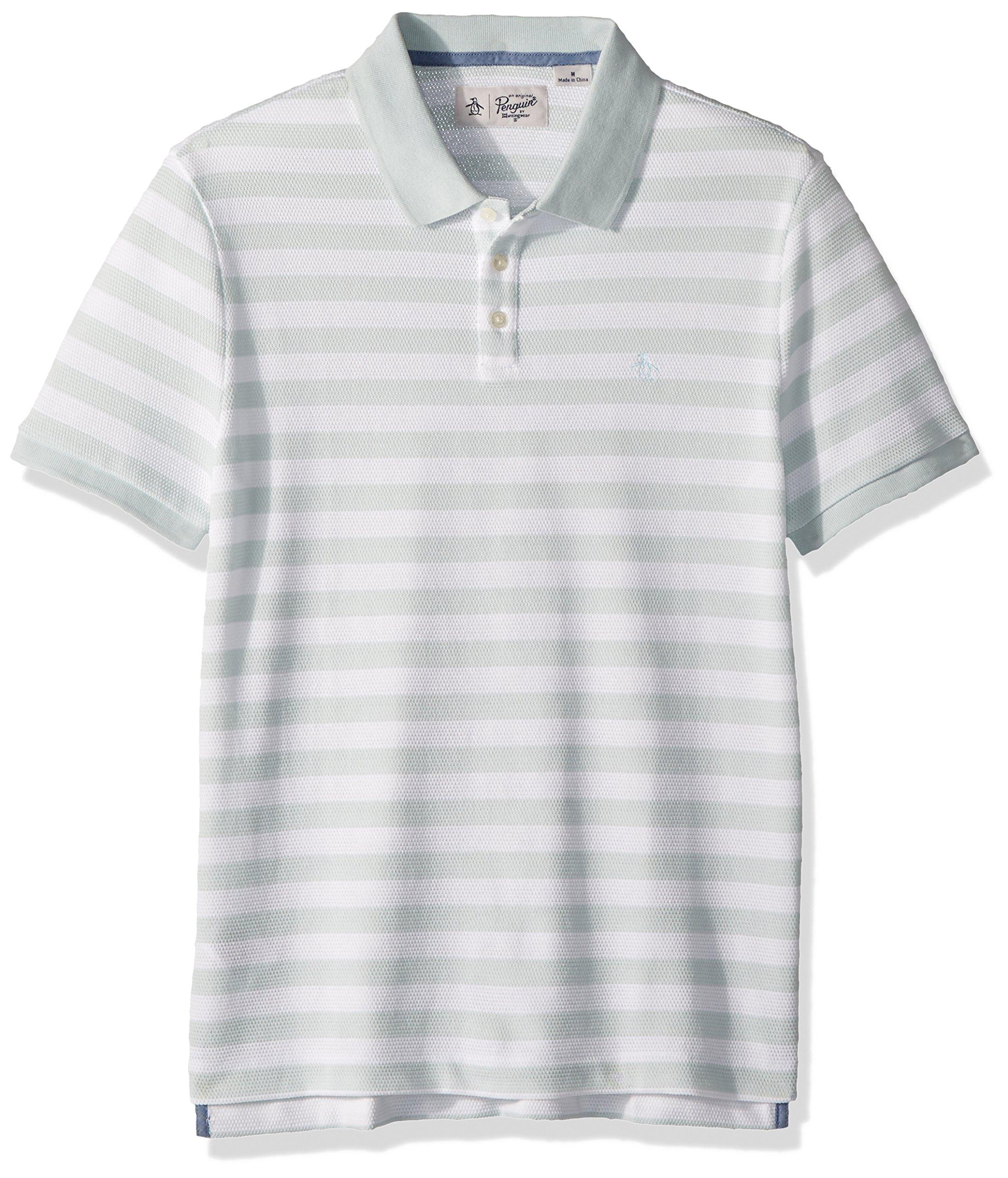 Original Penguin Men's Short Sleeve Pointelle Stripe Polo, Pastel Blue, Medium