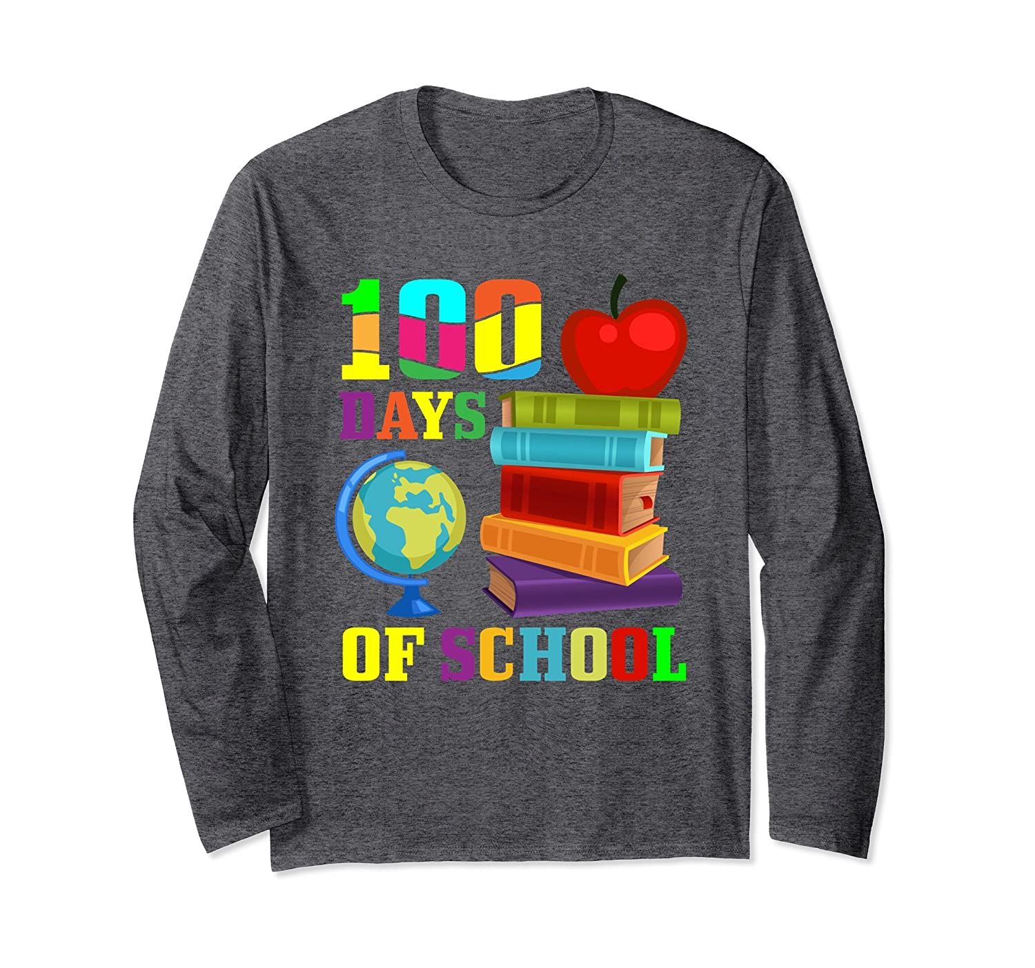 100 Days of School T Shirt – Long Sleeved Teacher Shirt-Awarplus