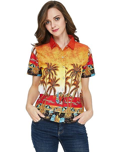 SSLR Camisa Mujer Hawaiana Manga Corta Blusa Verano Casual Aloha Tropical Beach (X-Large