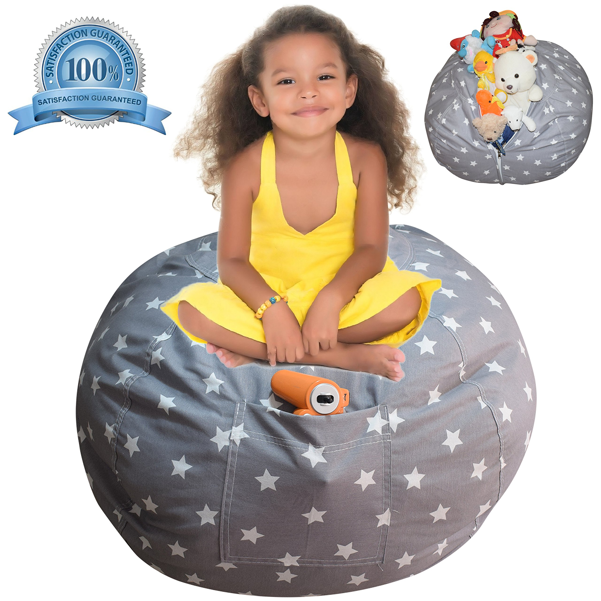Extra Large Stuffed Animal Storage Bean Bag Cover   Europe Made & Lab Tested Fabric   The Ultimate Storage Solution To Clean Up & Organize Kid's Room   Free E-Book (Unisex Grey)