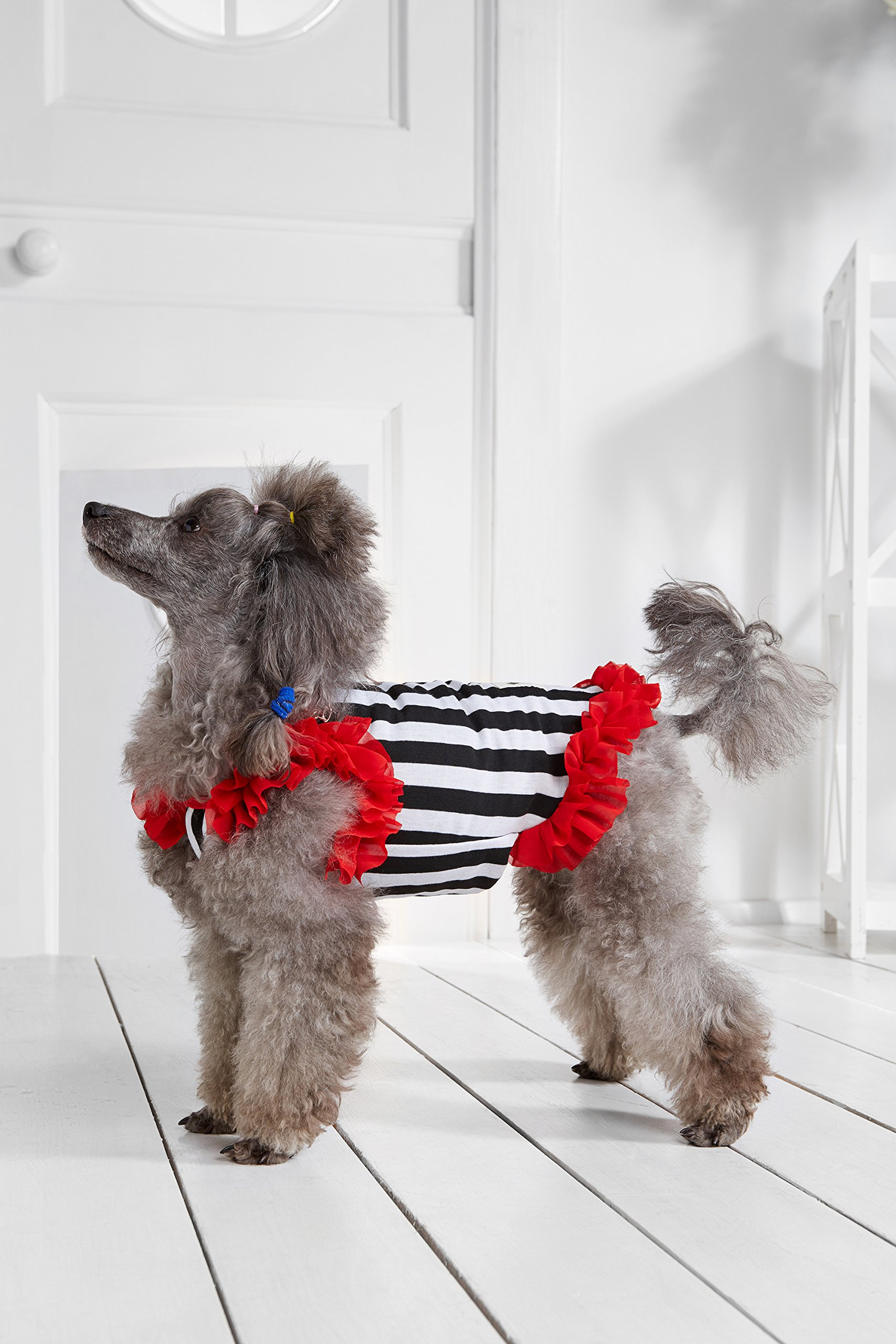 """Small Dog Striped Dress With Ruffles Satin Bow Chain Dogs Cotton Summer Clothes (Toy Plus: 10"""" / 5-9 lbs, Red, Black, White) by Nothing But Love Pets (Image #5)"""
