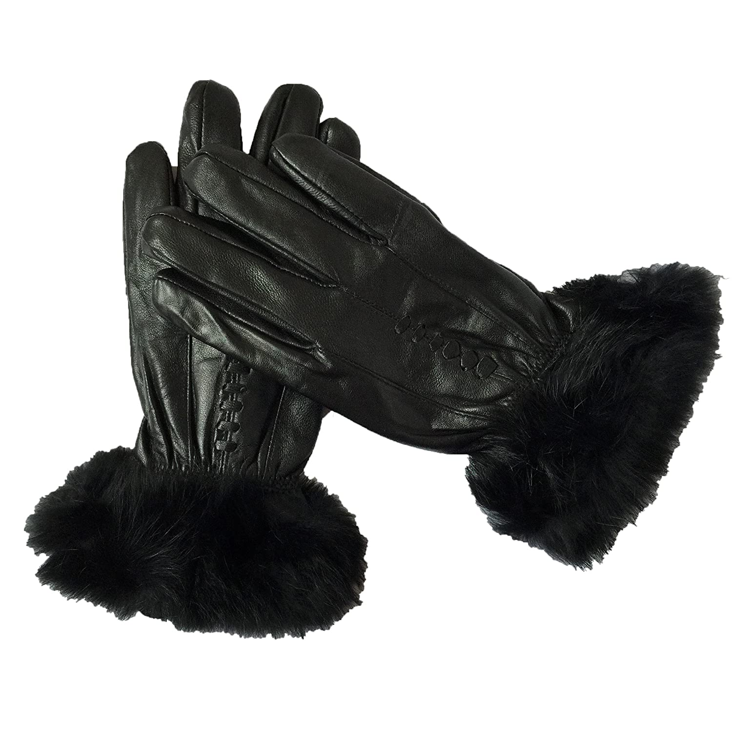 Ladies thermal leather gloves uk - Ladies Genuine Leather Gloves Thinsulate Fleece Lined Driving Soft Winter Warm Touch Screen