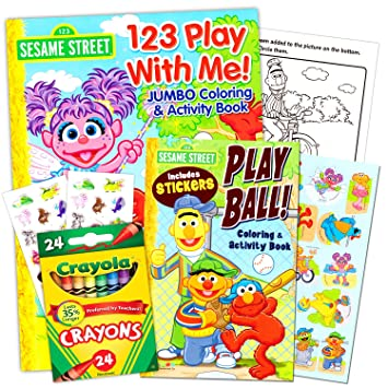sesame street coloring book super set with sesame street crayons 2 coloring books - Sesame Street Coloring Books