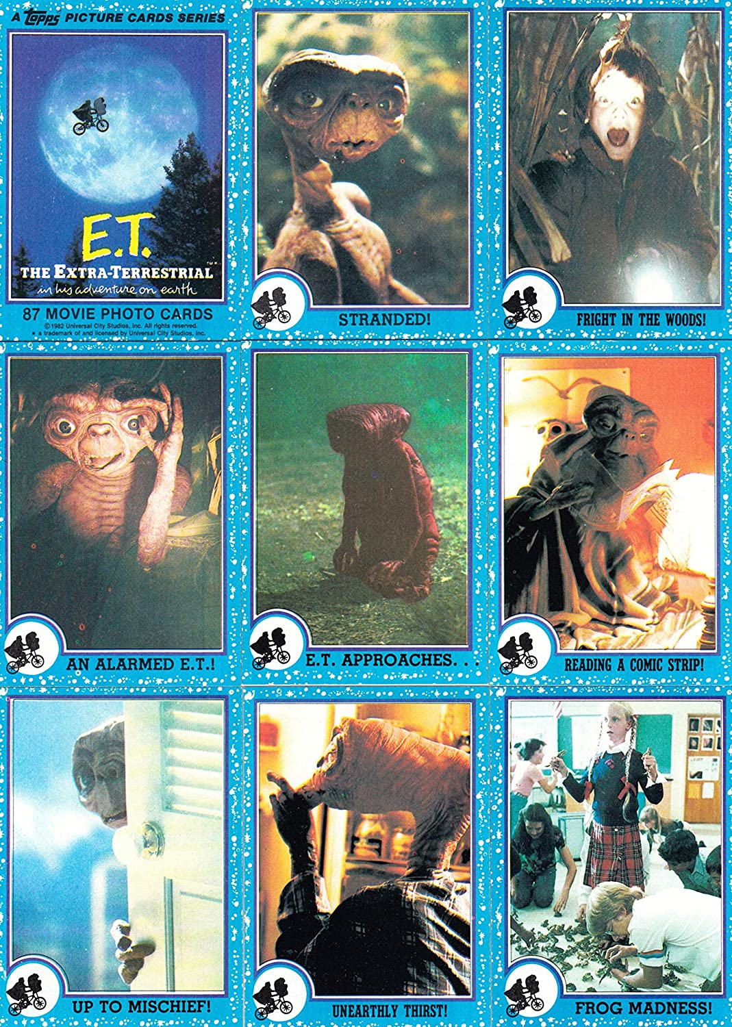 E.T. ET THE EXTRA TERRESTRIAL MOVIE 1982 TOPPS COMPLETE BASE CARD SET OF 87 - NO STICKERS