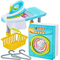JOYIN Kids Toy Washing Machine and Ironing Board Set Housekeeping Pretend Play Cleaning Toy Washer Laundry Playset