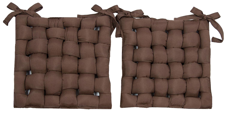 ZOLLNER set di 2 cuscini da sedia per dentro e fuori, ca. 40x40 cm, marrone disponibili in altri colori, serie Panama